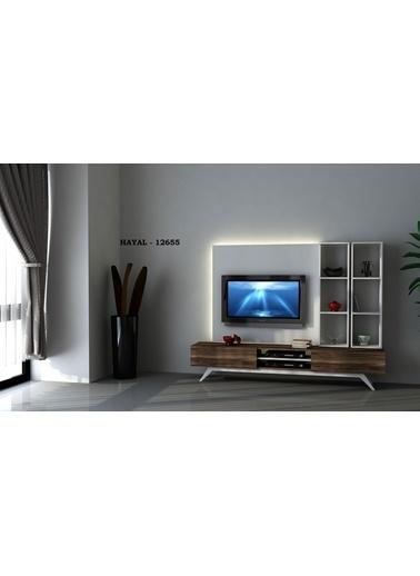 Sanal Mobilya Hayal 12655 Tv Ünitesi Leon Ceviz/Parlak Beyaz Beyaz